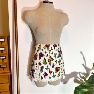 Current Mood Dolls Kill Ivory I'm One of a Kind Butterfly Mini Skirt Lace Trim